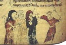 Vold mot jøder som illustrasjon i en gammel britisk bok. (Scannet fra Four Gothic Kings, Elizabeth Hallam, ed., Wikimedia Commons)