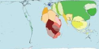 Størrelsen til landområdene blir fremstilt i relativ størrelse til antall drepte i krig og konflikter innenfor landområdet i forhold til totalt antall krigsdrepte i verden fra 1945 til 2000. (Kilde Worldmapper)
