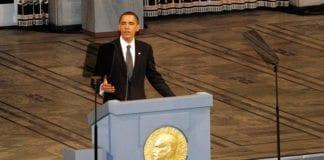 USAs president Barack Obama holder sin fredspristale i Oslo i desember 2009. (Foto: Erik F. Brandsborg, flickr)