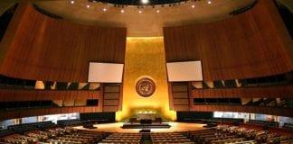 Møtesalen til FNs generalforsamling i New York. (Foto: Wikimedia Commons)