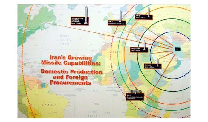 Rekkevidden til Irans raketter.
