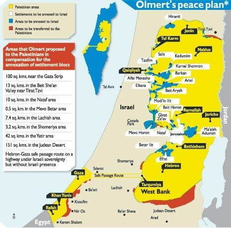 Dette kartet ble forkastet av PA-president Mahmoud Abbas i forhandlingene mellom Israel og de palestinske selvstyremyndighetene høsten 2008. Abbas nektet å skrive under på en avtale hvor palestinerne frasa seg alle framtidige territorielle krav.