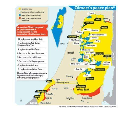 Ehud Olmerts fredsplan, presentert for Mahmoud Abbas i 2008.