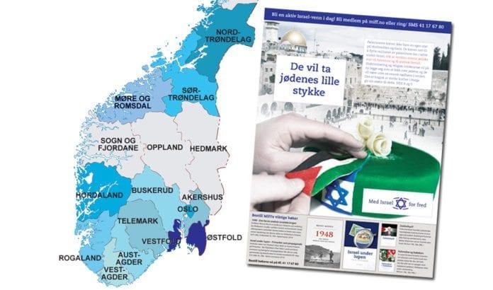 Med Israel for fred (MIFF) distribuerer et 24 siders spesialmagasin med Israels beste argumenter til 147.000 husstander i fylkene Østfold og Vestfold i september 2015. Fra før har elleve andre fylker fått magasinet (merket med blått på kartet).