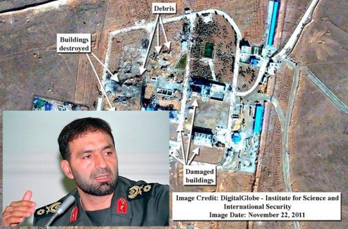 Generalmajor Hassan Moqaddam ble drept i eksplosjonen som gjorde store ødeleggelser på en base til revolusjonsgarden i Iran 12. november 2011. (Foto: Fars, ISIS)