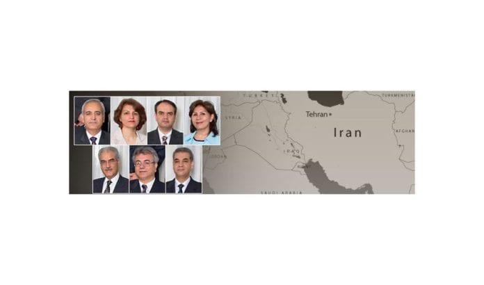 Baha'i-ledere som er dømt til fengsel i Iran. (Skjermdump fra news.bahai.org)