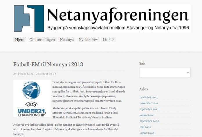 Skjermdump av Netanyaforeningen.no 15. desember 2011.