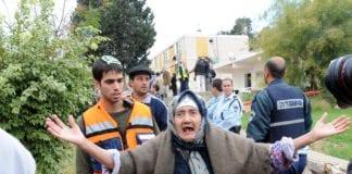 En fortvilt israelsk kvinne under rakettangrep i 2009. (Foto: GPO)