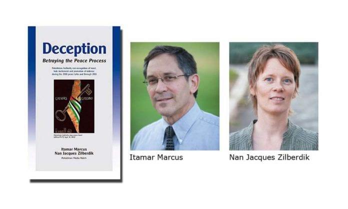 Boken Deception og forfatterne Itamar Marcus og Nan Jacques Zilberdik. (Montasje: Conrad Myrland)