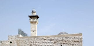 Minaret ved Al-Aqsa moskéen i Jerusalem. (Foto: Conrad Myrland, MIFF)