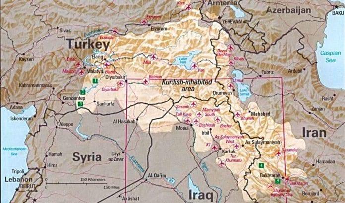 Et kart som indikerer hvor de fleste kurderne bor, utarbeidet av CIA på begynnelsen av 1980-tallet. (Illustrasjon: Wikimedia)