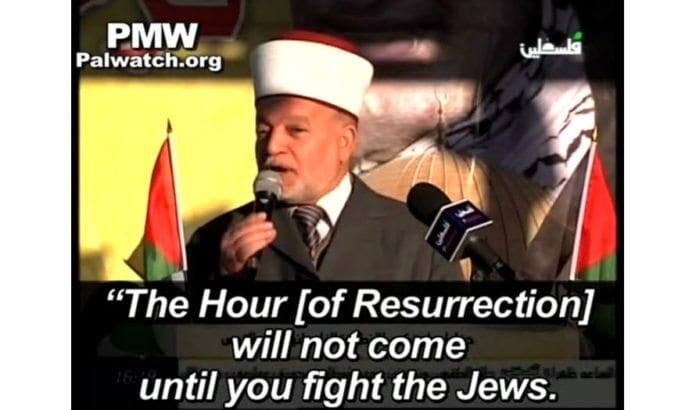 Jerusalem-mufti Muhammed Hussein siterer hadith om drap på jøder.