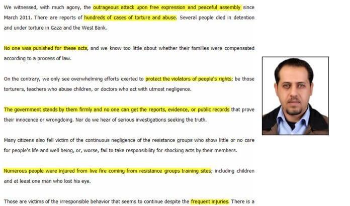 Mahmoud Abu Rahma og utdrag fra hans artikkel.