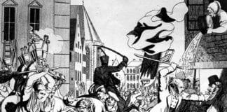 Tegning fra antisemittisk vold i Frankfurt i Tyskland i 1819.