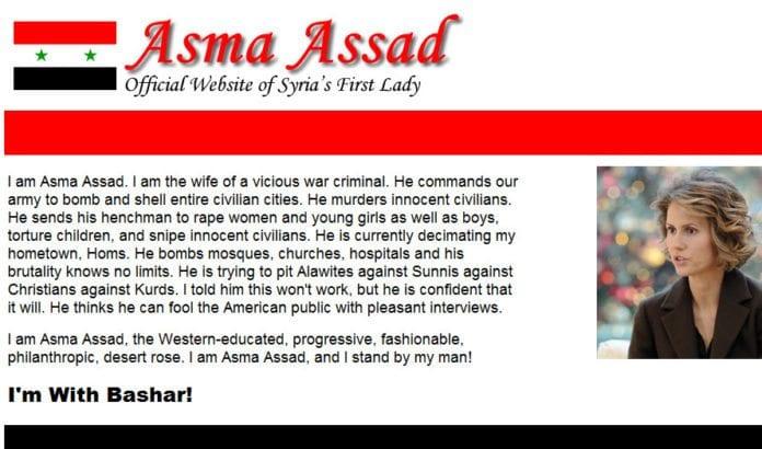 Skjermdump av Asma Assads nettside etter hackingen.