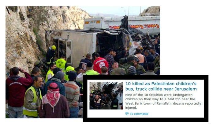 Bilde fra ulykkesstedet tatt av redningsselskapet Zaka, og skjermdump fra Haaretz.com.