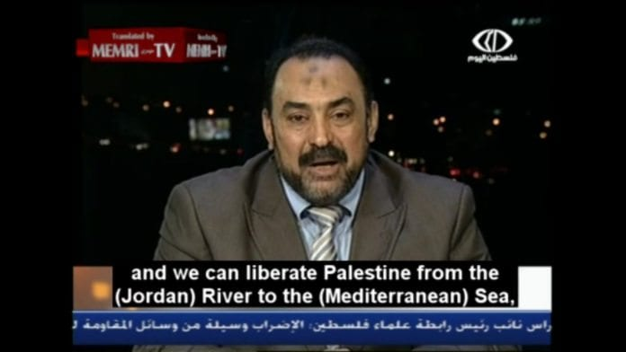 Ali Abd Al-Fattah i Det muslimske brorskap ser for seg en framtid uten Israel. (Skjermdump fra tv-stasjonen Palestine Today, via Memri)