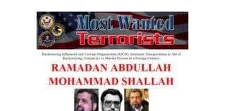 Skjermdump av FBIs etterlysning av lederen for Islamsk Jihad, Ramadan Abdullah Mohammad Shallah.