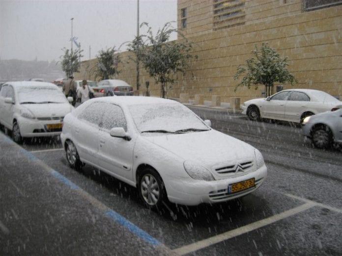 Snøfall i Jerusalem desember 2007. (Foto: Jonathan Klinger, flickr.com)