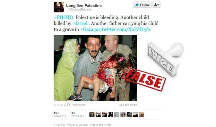 Den palestinske menneskerettighetsaktivisten Khulood Badawi publiserte et seks år gammel bilde av en jente som ble drept i en ulykke. (Foto: Skjermdump fra Twitter)