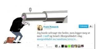Skjermdump av karikaturtegningen til Marvin Halleraker som fulgte Frank Rossaviks artikkel i Morgenbladet, og journalistens annonsering av egen artikkel på Twitter.