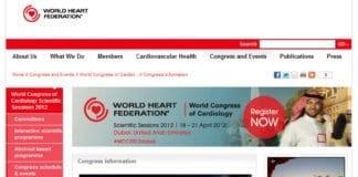 Skjermdump fra informasjonsside om konferansen i Dubai på world-heart-federation.org.