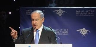 Statsminister Benjamin Netanyahu sammenlikner Holocaust med dagens trussel fra Iran, i sin tale fra minnedagen for Holocaust. (Foto: Amos Ben Gershom, GPO)