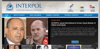 Hjemmesiden til Interpol (Foto: Skjermdump av Interpol.int)