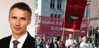 Jens Stoltenberg møter to utenrikspolitiske paroler under sin tale i Bergen. Begge lyver på Israel. (Foto: Statsministerens kontor og skjermdump fra LO Bergen)