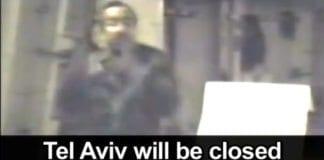 Skjermdump fra PA TV. Tv-stasjonen viser et arkivopptak hvor Abu Jihad taler om sine planer for Tel Aviv.