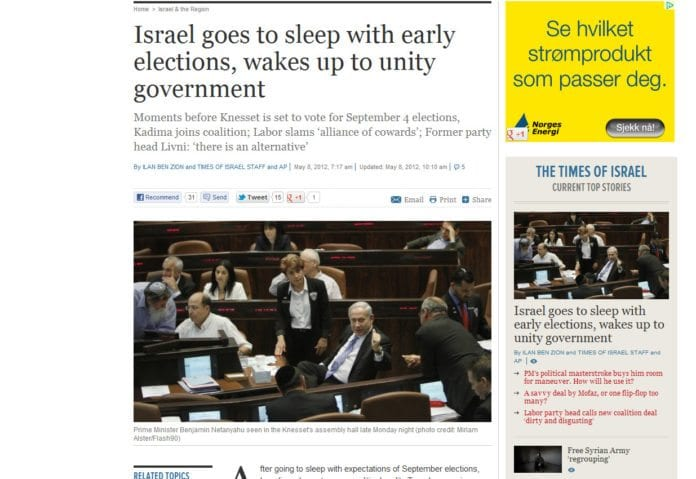 En slagen opposisjon og to jublende regjeringspartier etter Kadimas inntog i koalisjonen. (Foto: Skjermdump fra timesofisrael.com)