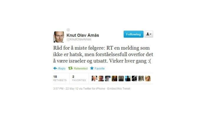 Knut Olav Åmås, kultur- og debattredaktør i Aftenposten, mistet følgere etter at han gjentok en Twitter-melding fra MIFFs online informatør Andreas Fagerbakke.