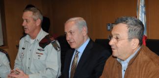 Forsvarsminister Ehud Barak (f.h.), sammen med statsminister Benjamin Netanyahu og forsvarssjef Benny Gantz. (Foto: IDF)
