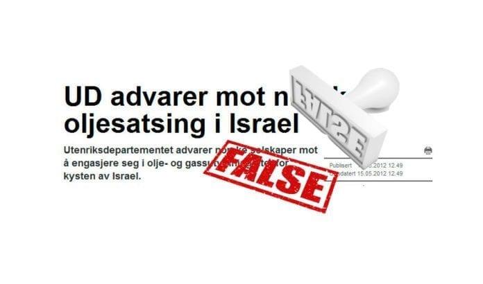 Hele NTBs sak viser seg å være oppkok, basert på fire år gamle generelle retninslinjer fra norske myndigheter. Norsk offshore-industri kan fritt engasjere seg i de israelske funnområdene, som ligger utenfor omstridt sone.