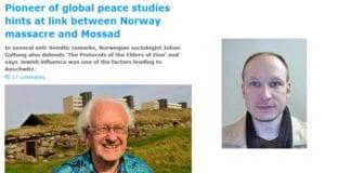 Den israelske avisen Ha'aretz omtaler 1. mai anklagene til Johan Galtung som hovedoppslag på sine nettsider. Konspirasjonene fra Galtung kan minne om konspirasjonene til Anders Behring Breivik.