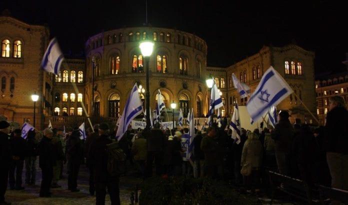 Fra støttemarkeringen for Israel utenfor Stortinget 8. januar 2009. (Illustrasjonsfoto: Odd Østtveit)