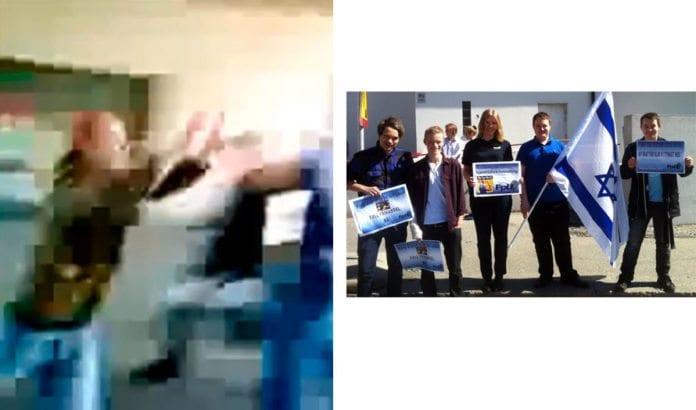 Videoopptak med mobil viser en av voldsaktivistene i det han river til seg Israel-flagget, før han løper fra stedet. Til høyre er deltakerne fra Fremskrittspartiets Ungdom, før de ble angrepet. (Foto: Privat)