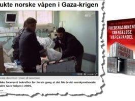 """Skjermdump av artikkel på nrk.no og forsiden til boken """"Fredsnasjonens grenseløse våpenhandel""""."""