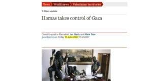 Det som skjedde på Gaza-stripen i 2007, vil skje på ny på Vestbredden dersom Israel trekker seg ensidig tilbake, advarer Khaled Abu Toameh. (Skjermdump fra guardian.co.uk)