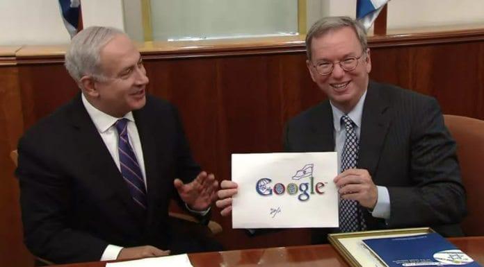 Israels statsminister Benjamin Netanyhau kom med et forslag til tilpasning av Google-logoen da han tok imot internettselskapets styreformann Eric Schmidt tirsdag. (Skjermdump fra video publisert av Statsministerens kontor)