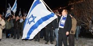 Fra en støttemarkering for Israel utenfor Stortinget 8. januar 2009. (Arkivfoto: MIFF)