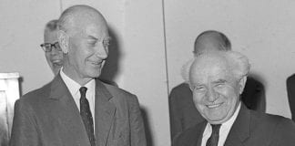 Statsminister Einar Gerhardsen og statsminister David Ben-Gurion. (Arkivfoto: GPO)