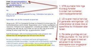 """Journalist Nils Inge Kruhaug opplyser om hvem som tok initiativ til NTBs artikkel """"UD advarer mot norsk oljesatsing i Israel"""" fra 15. mai. E-posten bekrefter at NTB konstruerte saken på eget initiativ. (Skjermdump med kommentarer (rødt) og markeringer (gult) lagt til av MIFF)"""