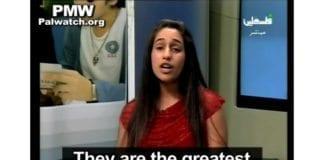 Den unge programlederen snakker om palestinske terrorister, flere av dem selvmordsterrorister med minst 135 israelske liv på samvittigheten. (Skjermdump fra PA TV, via PMW)