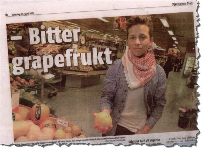 Grapefrukten er ekstra bitter, hevder Jan Berge, AUF-leder i Stjørdal. Men har han smakt på den?