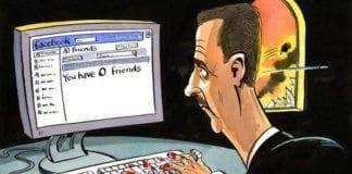 """Syrisk karikatur viser Syrias president Bashar Assad med blod på hendene, i det han sjekker vennelisten på Facebook. Teksten på skjermen lyder: """"Du har 0 venner"""". (Foto: Syria Freedom House)"""