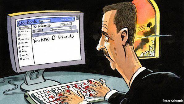 Syrisk karikatur viser Syrias president Bashar Assad med blod på hendene, i det han sjekker vennelisten på Facebook. Teksten på skjermen lyder: