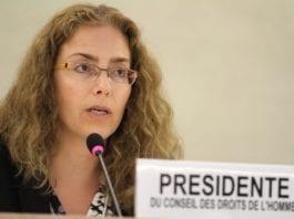 Menneskerettighetsrådets president Laura Dupuy-Lasserre. (Foto: Pierre Albouy, FN)