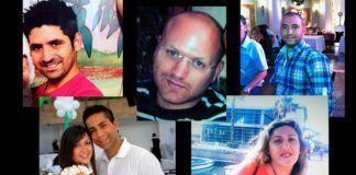 Ungdommene Amir Menashe (oppe fra venstre), Elior Priess, Maor Harush ble drept i terrorangrepet. Gilat Kolengi (nede til venstre) ble såret, men mistet sin mann Itzik Kolengi. Kochava Shriki (nede til høyre) var gravid med sitt første barn. (Foto: ynetnews.com)