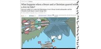 Akiva Eldars artikkel er illustrert med et skip på en norsk fjord, med norsk og palestinsk flagg. Den israelske tegneren har forstått at det er politisk korrekt å holde det israelske flagget unna. (Skjermdump fra haaretz.com)